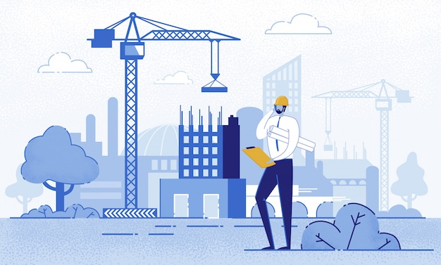 Architekt holding blueprints in der nähe von bau. Premium Vektoren