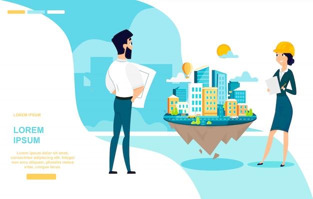 Architekten team work cartoon vector web banner Premium Vektoren