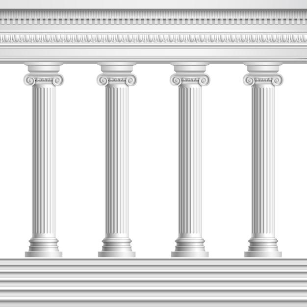 Architektonische elementkolonnade aus realistischen antiken säulen mit verzierter decke und sockel mit treppe Kostenlosen Vektoren