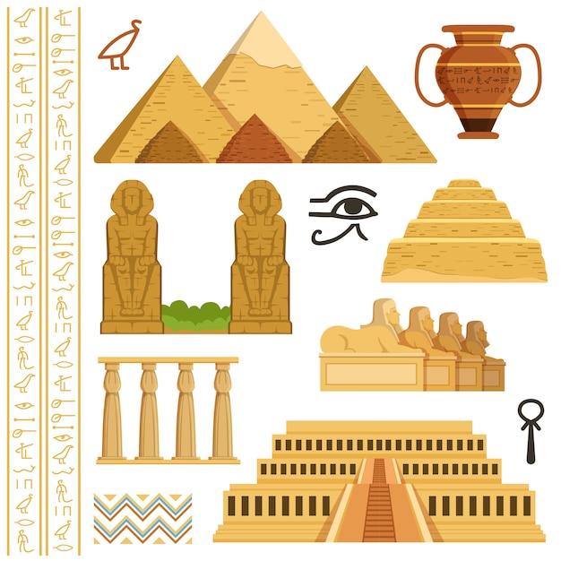 Architektonisches wahrzeichen von ägypten Premium Vektoren