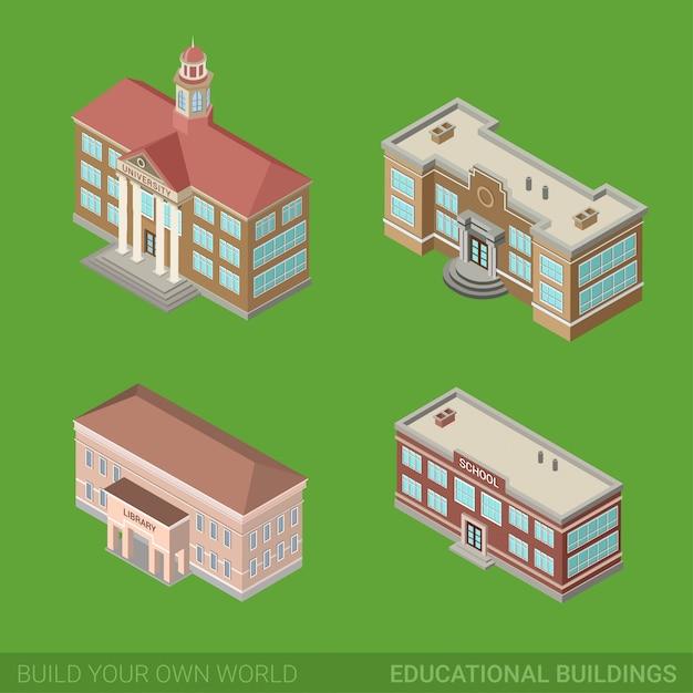 Architektur historische bildungsgebäude flache isometrische set öffentliche bibliothek universitätsschulregierung. Premium Vektoren