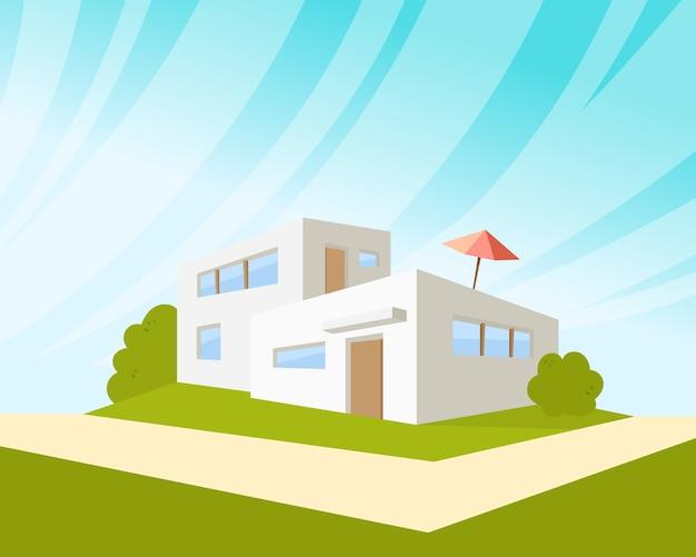 Architekturhaus mit grünem rasen und regenschirm. Kostenlosen Vektoren