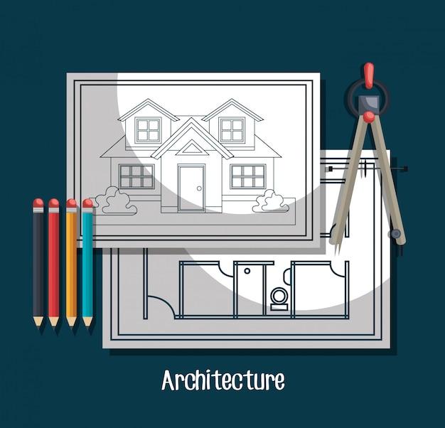 Architekturprojekt design Kostenlosen Vektoren