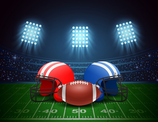 Arena des amerikanischen fußballs, sturzhelm, ball mit hellem stadionsbeleuchtungsdesign. vektor-illustration Premium Vektoren