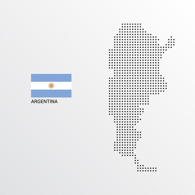 Argentinien-kartenentwurf mit flaggen- und hellem hintergrundvektor Kostenlosen Vektoren