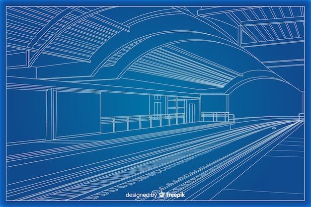 Arhitectural lichtpause 3d eines gebäudes Kostenlosen Vektoren