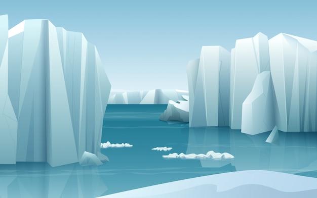 Arktische eislandschaft des naturwinters Premium Vektoren