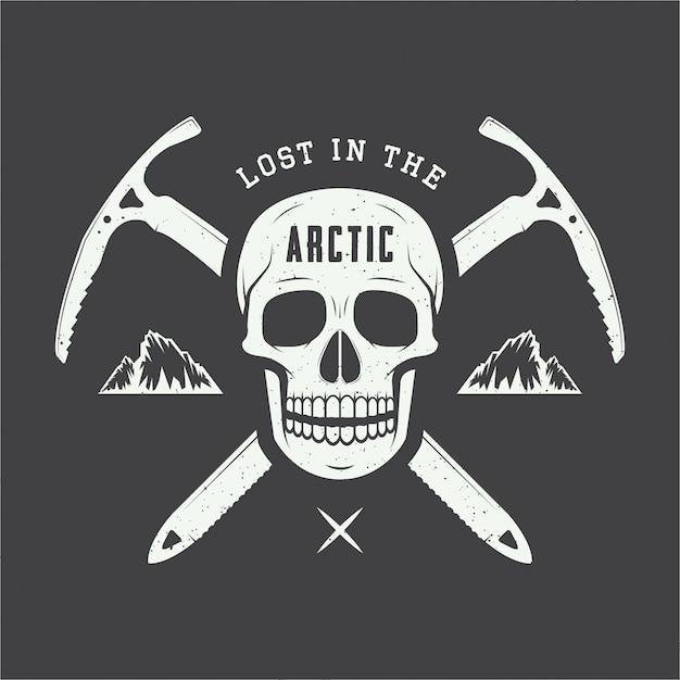 Arktisches schädellogo. Premium Vektoren