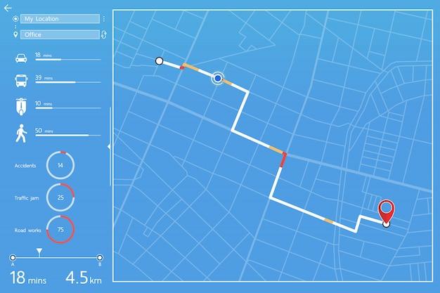 Armaturenbrettdesign von gps-navigation im stadtplan Premium Vektoren
