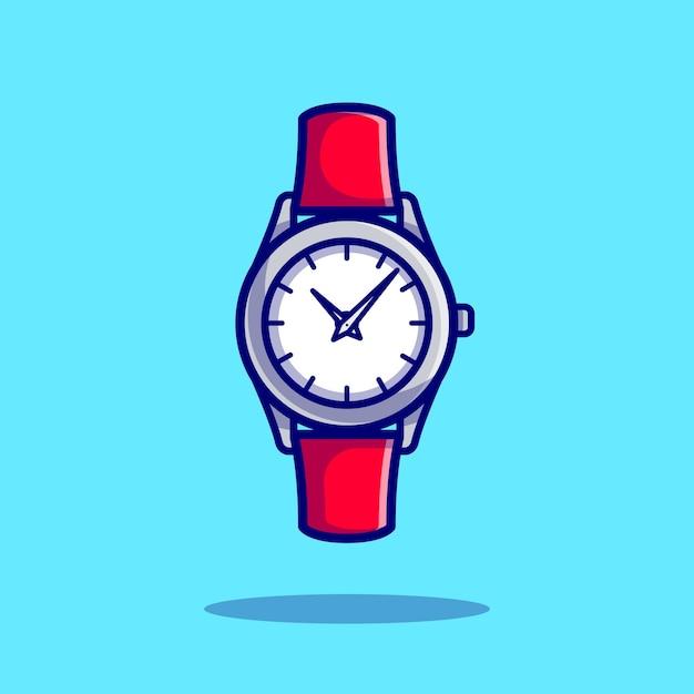 Armbanduhr cartoon icon illustration. clock object icon concept isolierter premium-vektor. flacher cartoon-stil Kostenlosen Vektoren