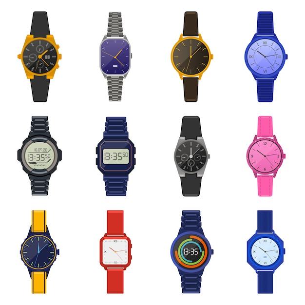 Armbanduhren. klassische weibliche männliche uhren, digitale smartwatch, mode-unisex-chronograph, moderne männerarmbanduhr-illustrationsikonen eingestellt. modisches armbanduhr-accessoire, modern und klassisch Premium Vektoren