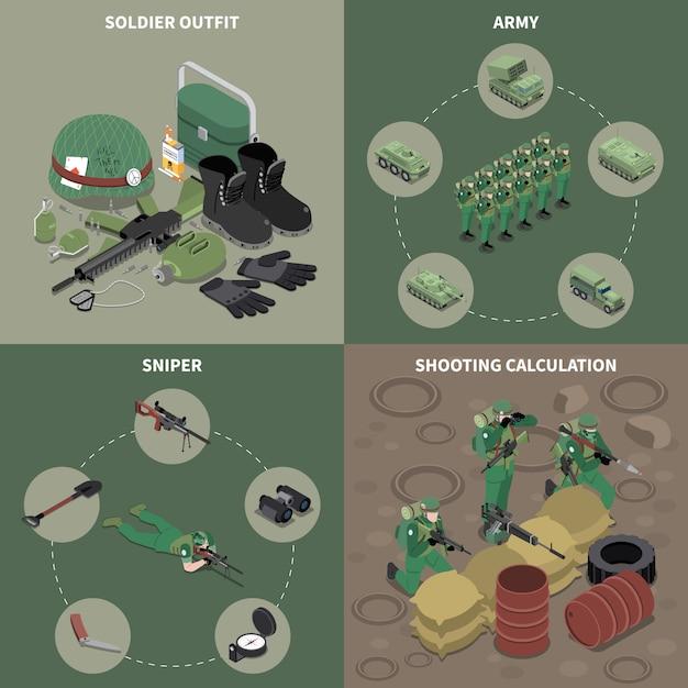 Armee 2x2 design-konzept-set von scharfschützen soldat outfit schießen berechnung quadratische symbole isometrisch Kostenlosen Vektoren