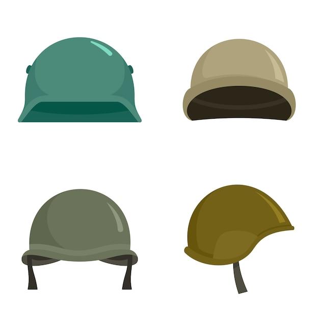 Armee helm icon set Premium Vektoren