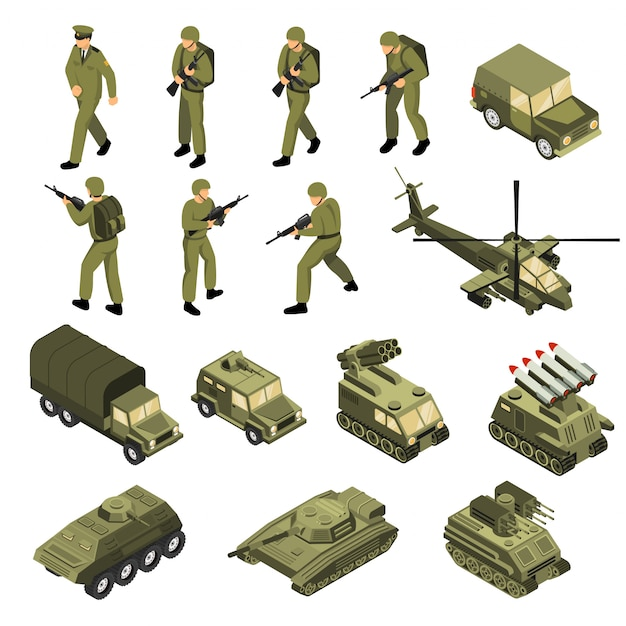 Armee isometrische icon set Kostenlosen Vektoren
