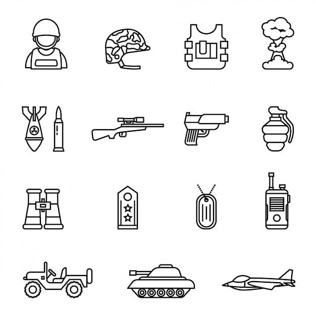 Armee und militärikone stellten mit ein. Premium Vektoren