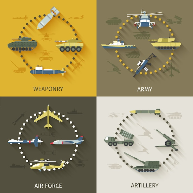 Army flat set Premium Vektoren