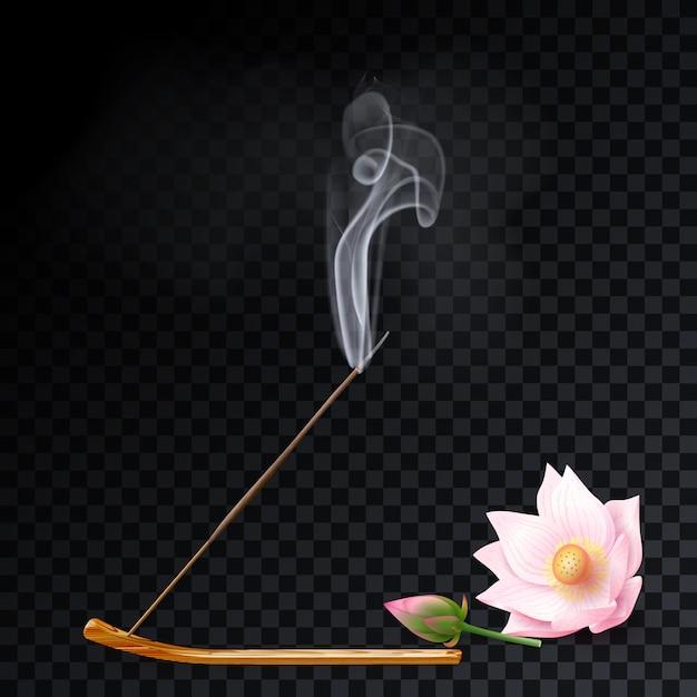 Aromarauchrohr haftet auf halter, lotosaromatherapie Premium Vektoren