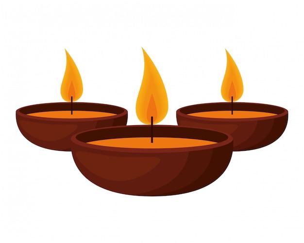 Aromatherapie set kerzen symbole Premium Vektoren