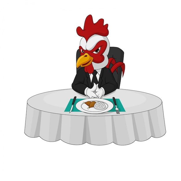 Arroganter hahn-chefcharakter isst am abendtische allein Premium Vektoren