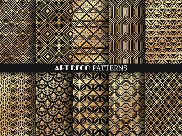 Art-deco-muster. goldene minimalismuslinien, geometrische künste der weinlese und dekolinie aufwändige nahtlose muster eingestellt Premium Vektoren