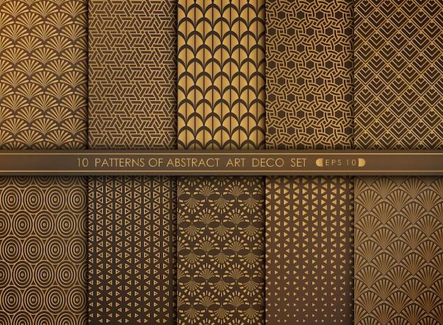 Art deco-mustersatz der abstrakten alten modernen artantike. Premium Vektoren