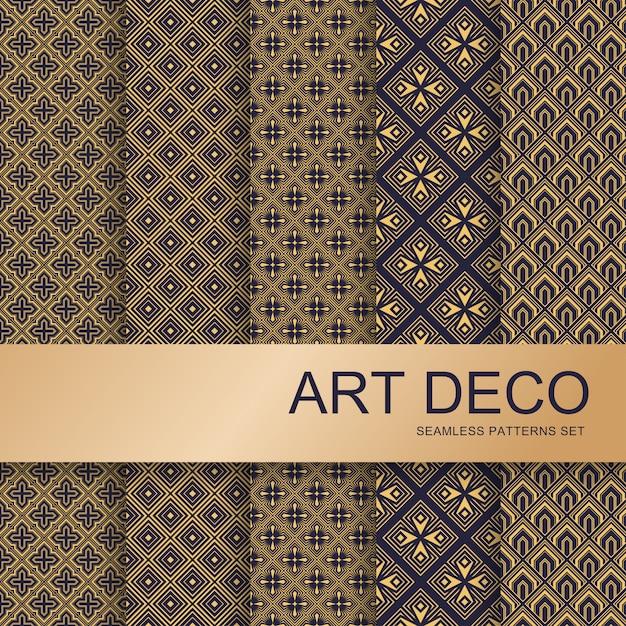 Art-deco-musterset. vintage geometrische kunst und deko linie verziert. geometrics gold minimale ornamente nahtlose gatsby elegante abstrakte luxusmuster vektor-set Premium Vektoren