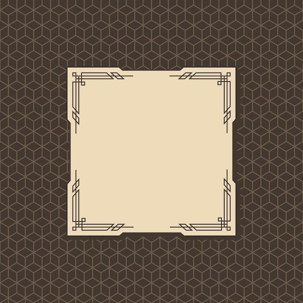 Art-deco-rahmen. grafikgrafikmusterkultur des kunstwerks. orante hochzeitseinladung. vintage retro-art banner oder etikettendesign. Premium Vektoren