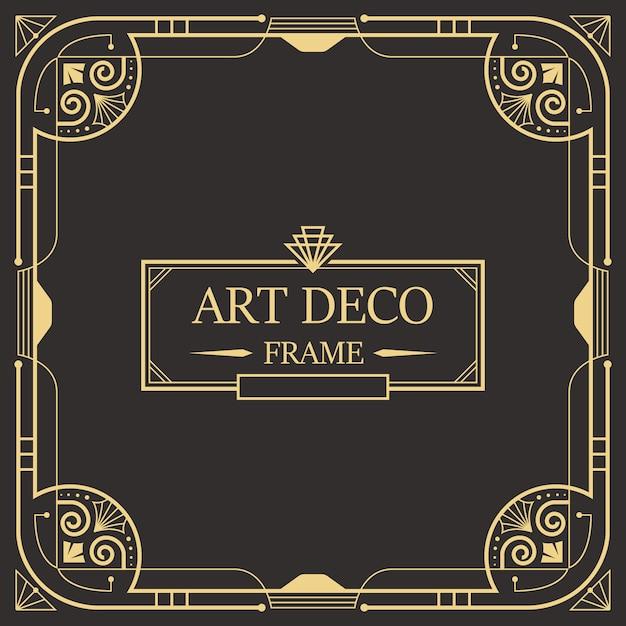 Art deco-rahmen und rahmenvorlage. Premium Vektoren