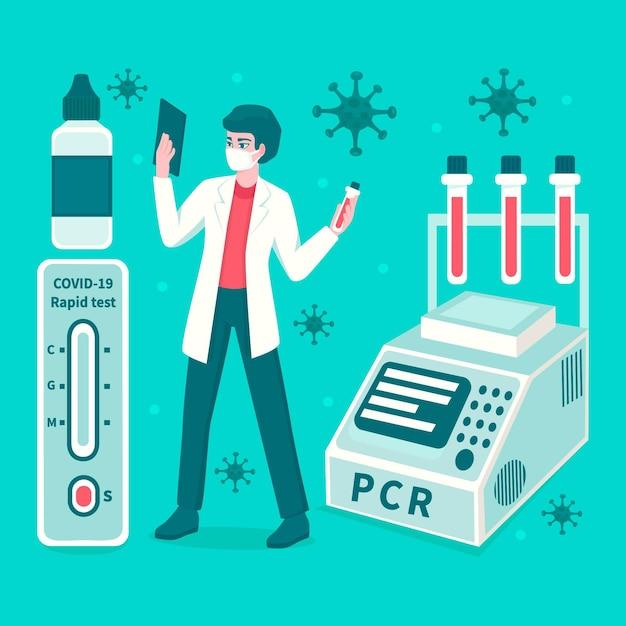 Art der abbildung des coronavirus-tests Kostenlosen Vektoren