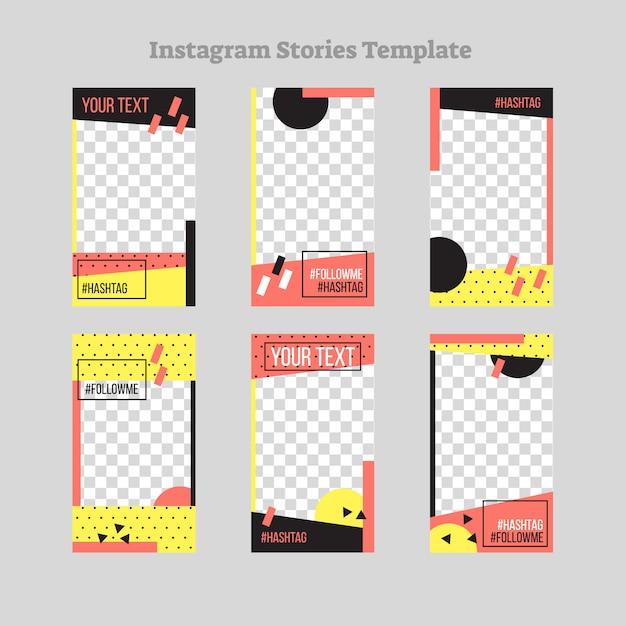 Art-rahmendesign der instagram-geschichten abstraktes flaches Premium Vektoren