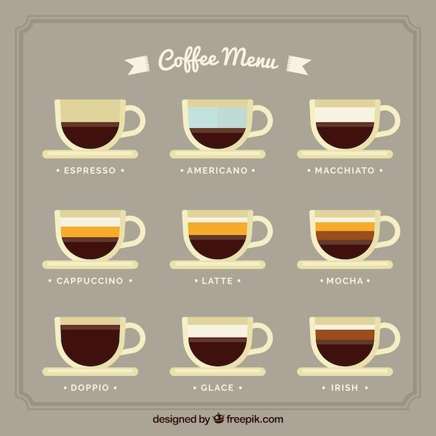 Arten von kaffee-menü in flaches design Kostenlosen Vektoren
