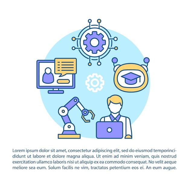 Artikel-seitenschablone der künstlichen intelligenz. Premium Vektoren