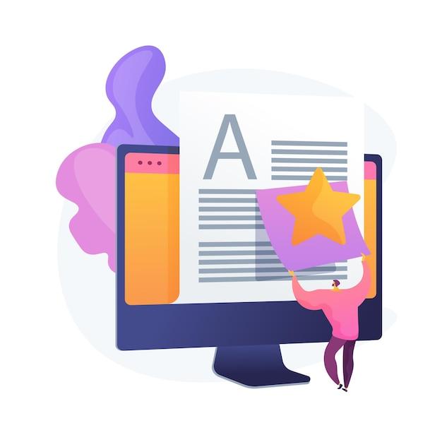 Artikelbewertung, bearbeitung. internet-blogging, content management, suchmaschinenoptimierung. seo marketing, copywriting idee design-element. Kostenlosen Vektoren