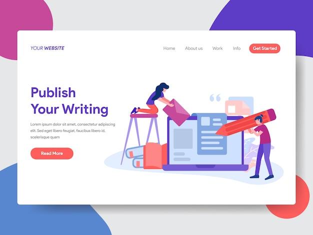 Artikelillustrationen für webseiten veröffentlichen Premium Vektoren