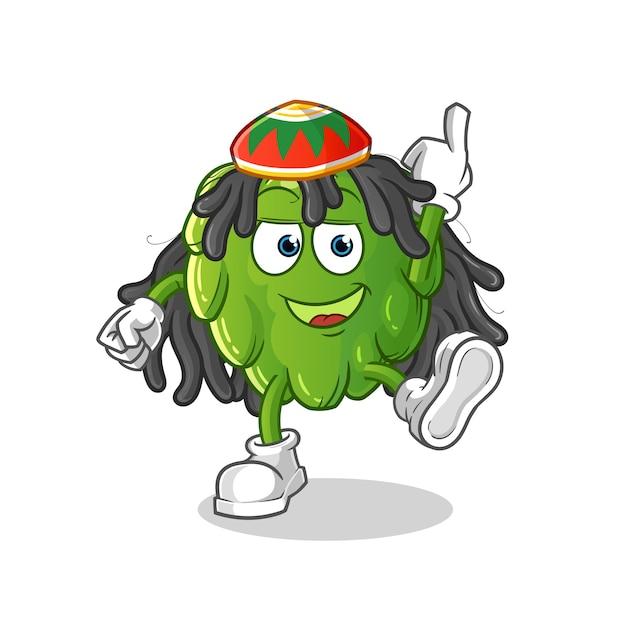 Artischocken-reggae-jungen-karikatur. cartoon maskottchen Premium Vektoren