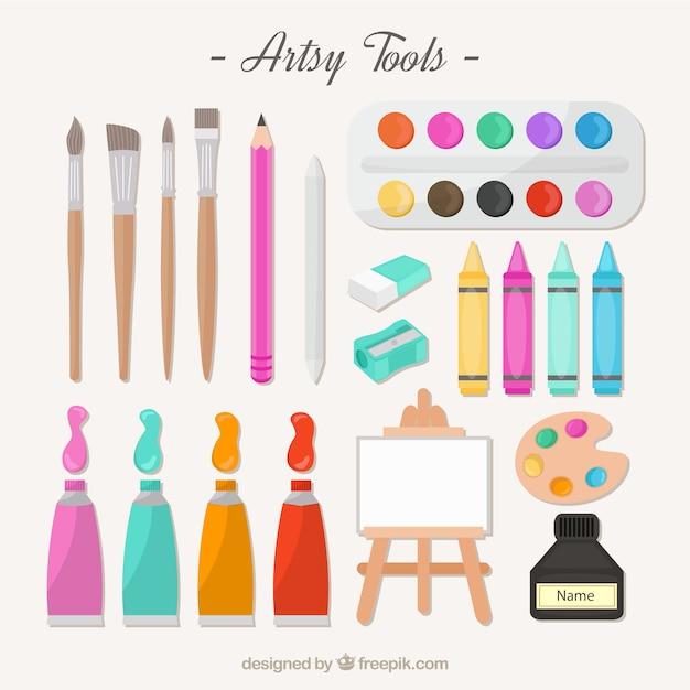 Artistic-tools für die malerei Kostenlosen Vektoren