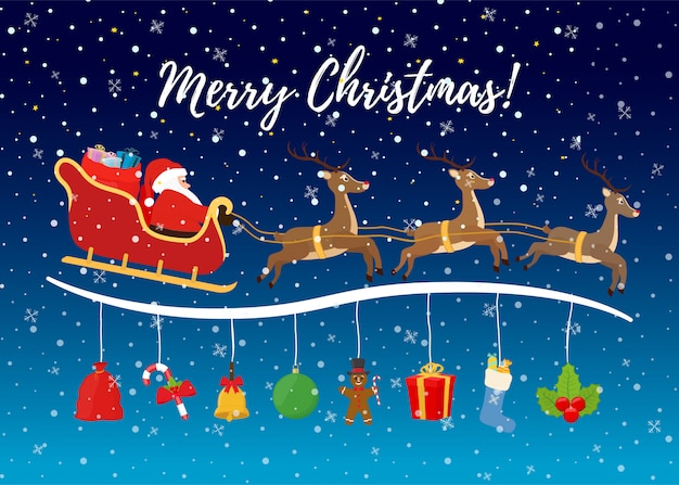 Сartoon weihnachtshintergrund für anzeigenplakat. Premium Vektoren