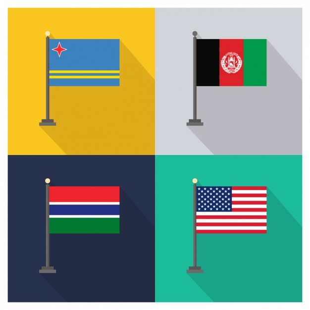 Aruba Afghanistan Gambia und USA Flaggen Kostenlose Vektoren