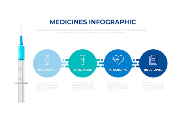 Arzneimittel-infografiken in flachem design Kostenlosen Vektoren