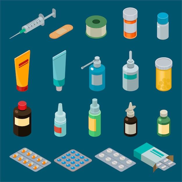 Arzneimittel oder pillen der apothekenvektormedizin in der behälter- oder modellflaschenillustration Premium Vektoren