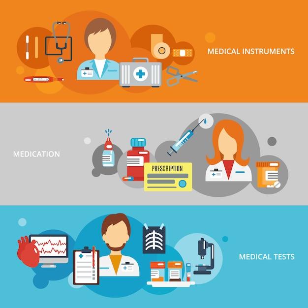 Arzt-banner-set Kostenlosen Vektoren