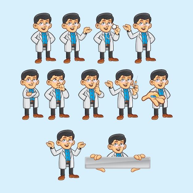 Arzt charakter in verschiedenen posen Premium Vektoren