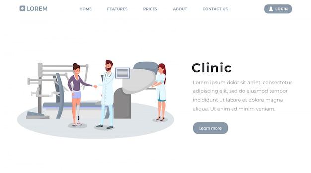 Arzt, chirurg und patient mit künstlichen gliedmaßen Premium Vektoren