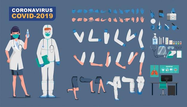 Arzt, der den charakter der patientenerstellung vor dem ausbruch des coronavirus bewahrt und gegen covid-19 kämpft. Premium Vektoren