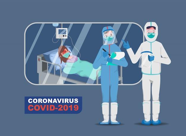 Arzt, der patienten vor dem ausbruch des coronavirus rettet und das coronavirus bekämpft. krank mit covid-19. Premium Vektoren