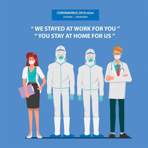 Arzt, der patienten vor dem ausbruch des coronavirus rettet und das coronavirus bekämpft. Premium Vektoren