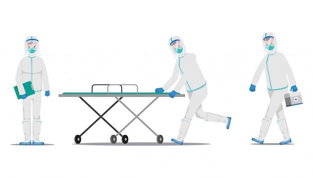 Arzt, der patienten vor dem ausbruch des coronavirus rettet und gegen die covid-19 kämpft. Premium Vektoren