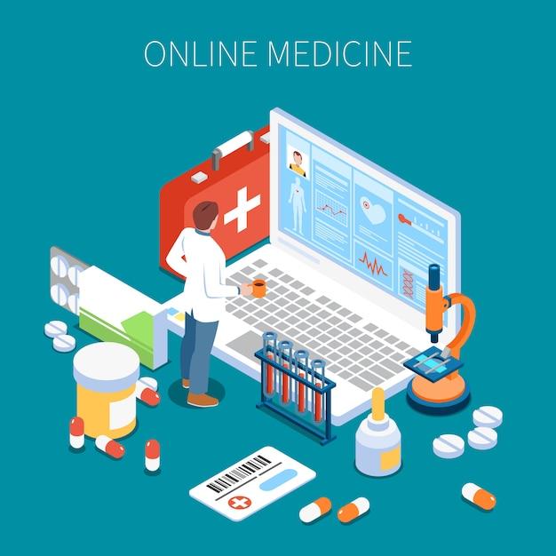 Arzt für isometrische zusammensetzung der telemedizin, der informationen über die gesundheit des patienten auf dem blauen laptopbildschirm studiert Kostenlosen Vektoren