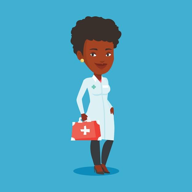 Arzt hält erste-hilfe-box. Premium Vektoren