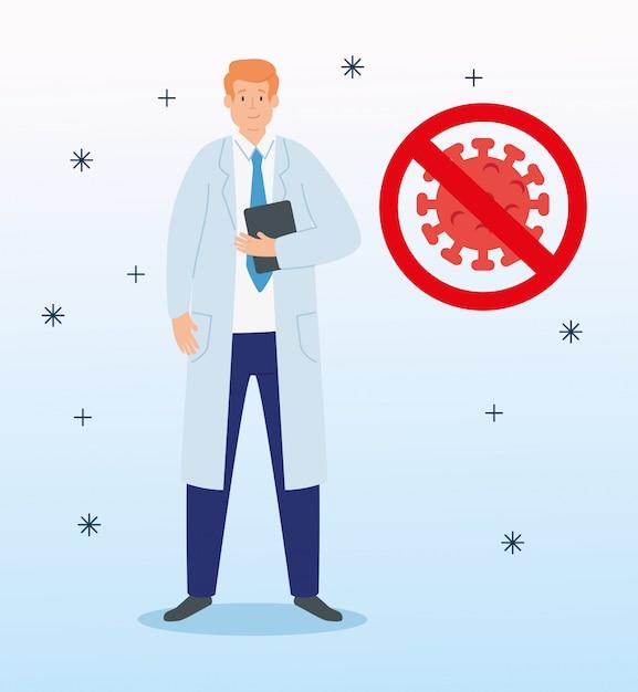 Arzt mit coronavirus-partikel 2019 ncov in verbotenem signal Kostenlosen Vektoren
